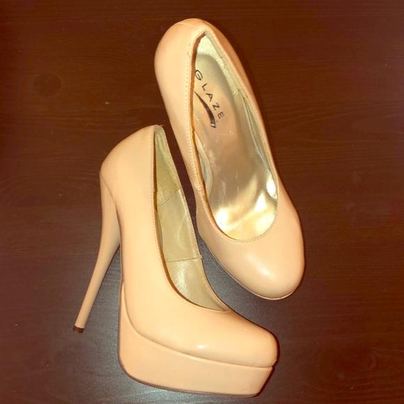 b556e97be6 Glaze Shoes | Nude Patent Platform Pumps | Poshmark
